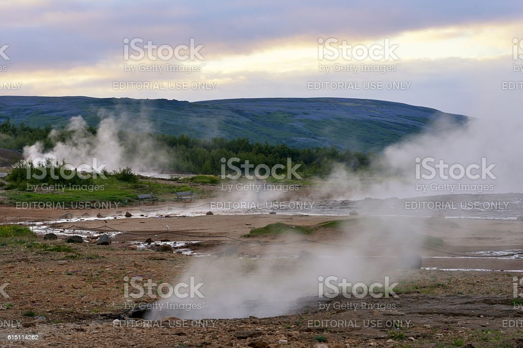 Geysir Hot Springs in Iceland stock photo