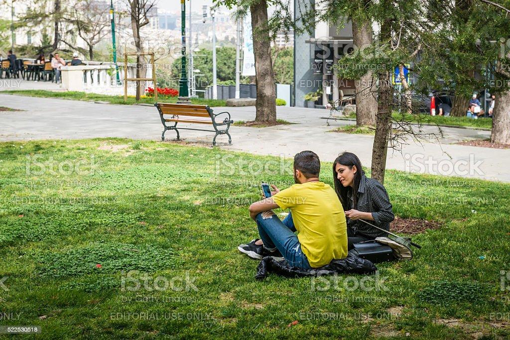 Gezi park in Istanbul, Turkey stock photo