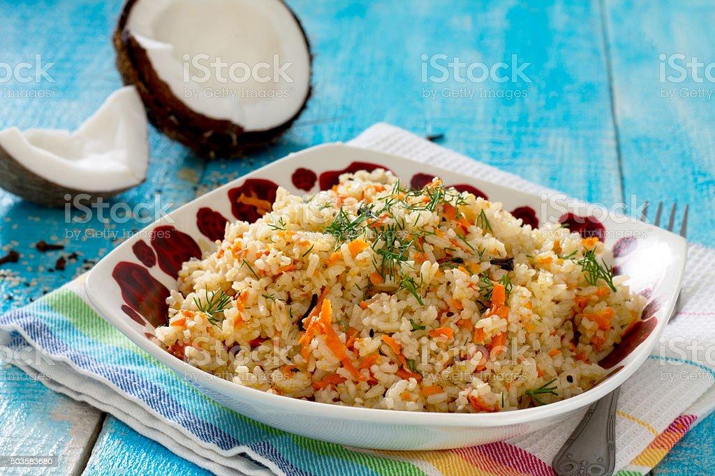 Ghajar pulau- coconut rice South Indian cuisine stock photo