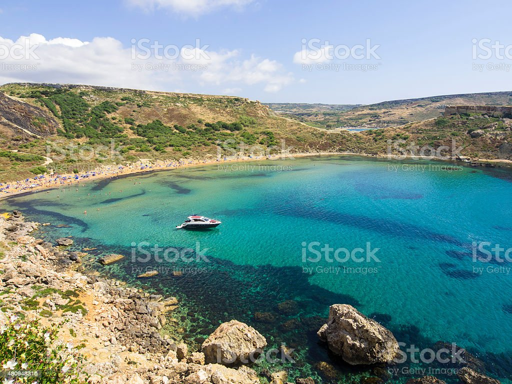 Ghajn Tuffieha beach on Malta stock photo
