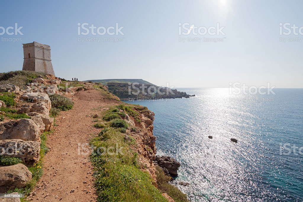 Ghajn Tuffieha Tower, Over Golden Bay, Malta, Europe stock photo