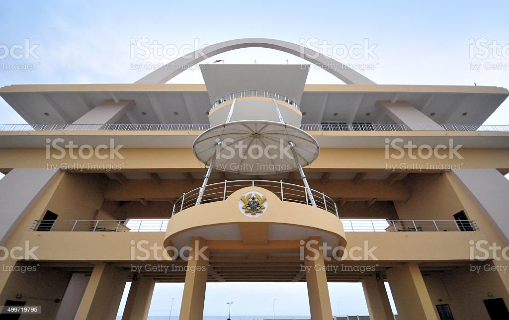 Ghana, Accra: arch used as a parade reviewing box stock photo