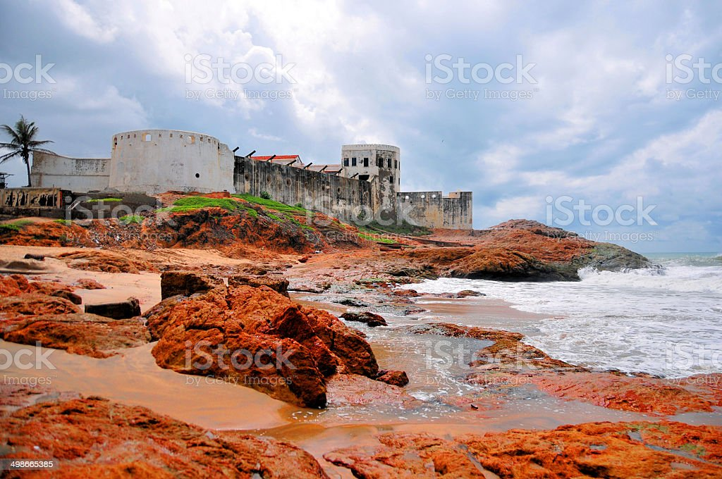 Ghana, Africa: Cape Coast beach and castle stock photo