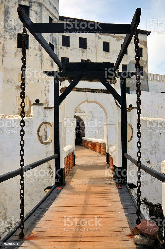 Ghana, Africa: drawbridge at Elmina castle stock photo