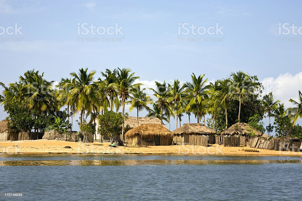 Ghana: Beach Scene, Mouth of the Volta River Delta royalty-free stock photo