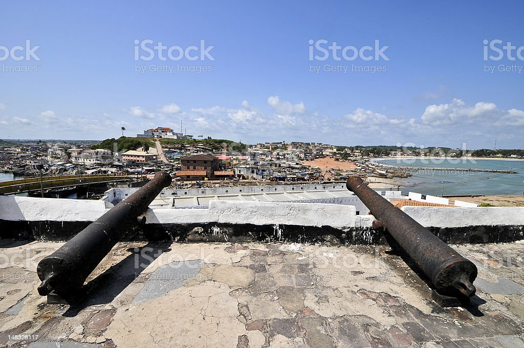 Ghana: Cannons, Elmina Castle World Heritage Site, History of Slavery stock photo