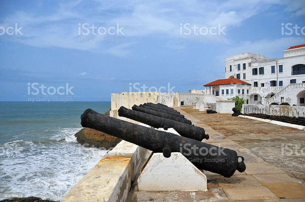 Ghana, Cape Coast castle, line of cannons stock photo