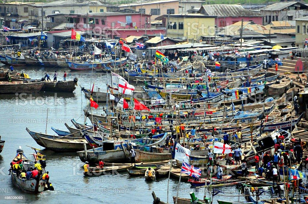 Ghana, Elmina, market day on the creek royalty-free stock photo