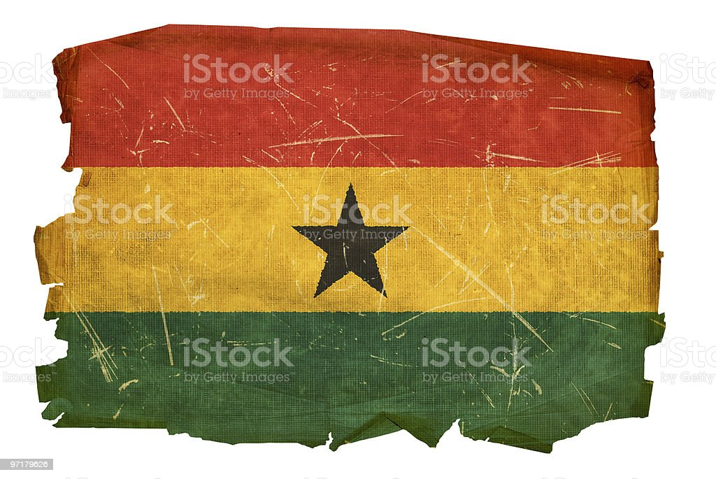 Ghana Flag old, isolated on white background. royalty-free stock photo