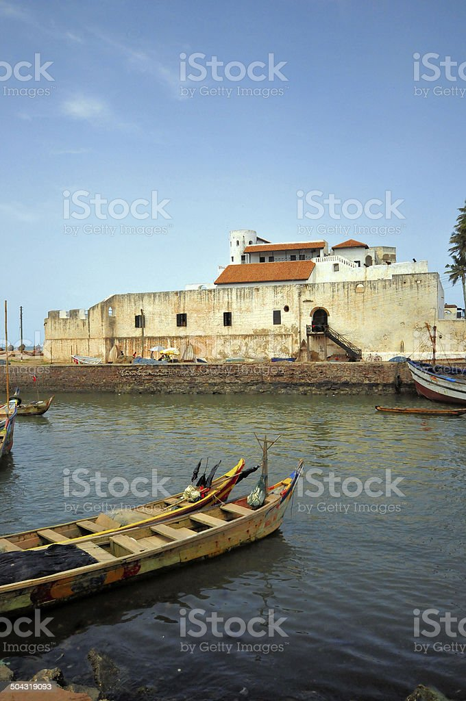 Ghana, West Africa: Elmina creek and castle stock photo