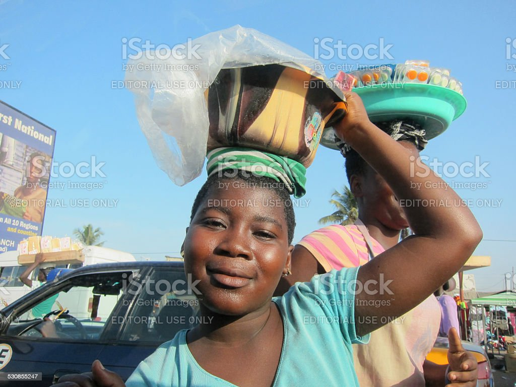 Ghanaian Girl Street Vendor stock photo