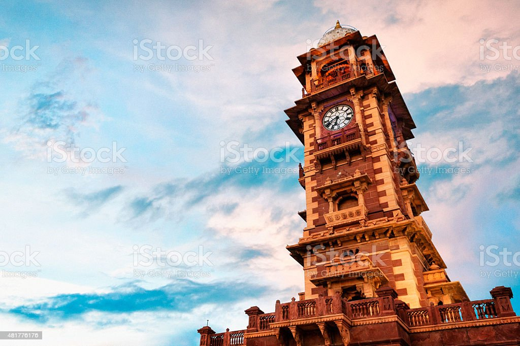 Ghanta Ghar Clock Tower at Sunset in Jodhpur, India stock photo