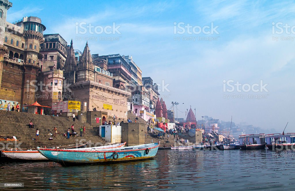 Ghat of River Ganges, Varanasi-India stock photo