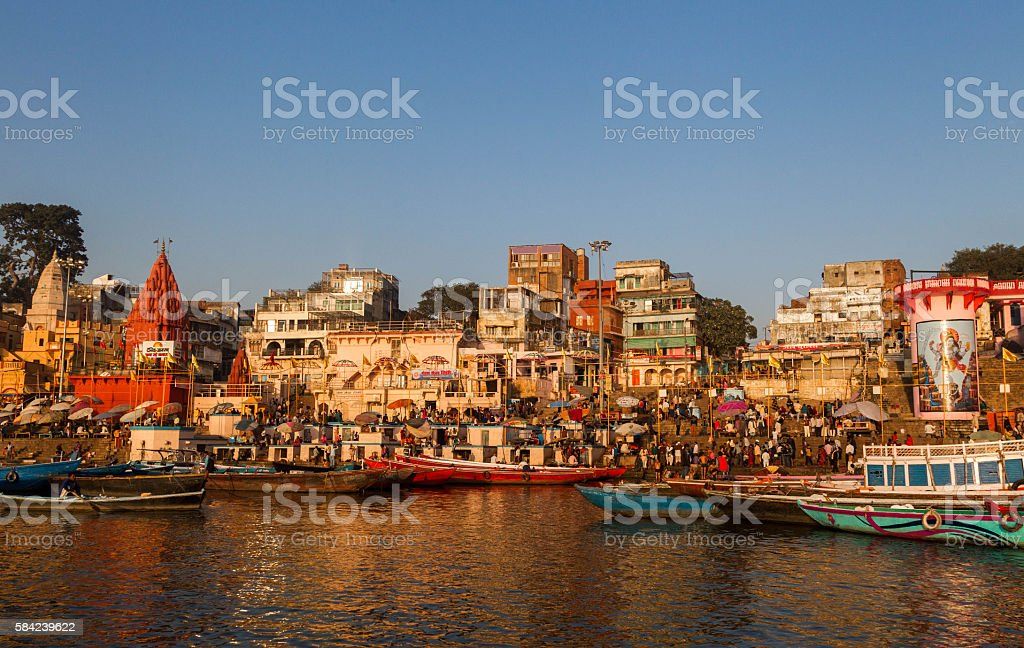 Ghats on the Ganges River, Varanasi, India. stock photo