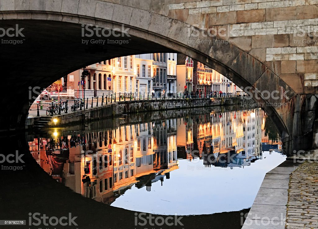 Ghent at evening, Belgium stock photo