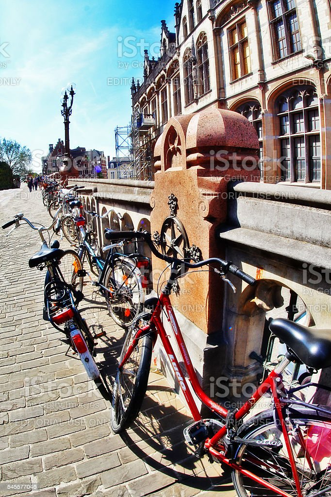 Ghent (Gent), Belgium - May 06, 2016 - Bicycles parking stock photo