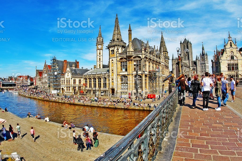 Ghent, Belgium - May 06, 2016 - Medieval city of Gent stock photo