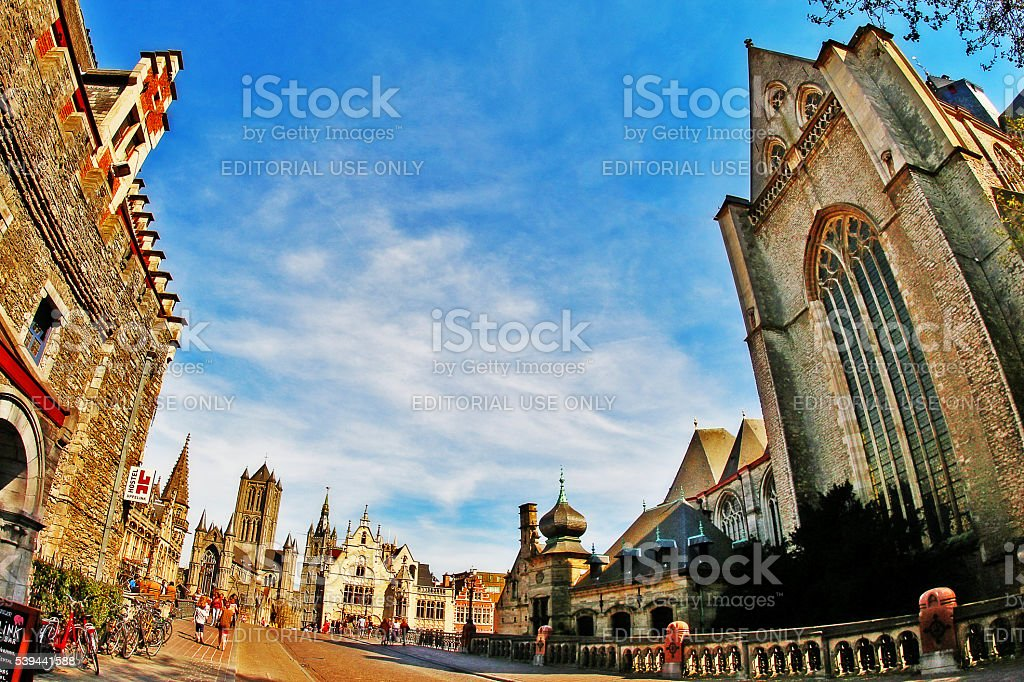Ghent, Belgium - May 06, 2016 - Medieval cityscape of Gent stock photo