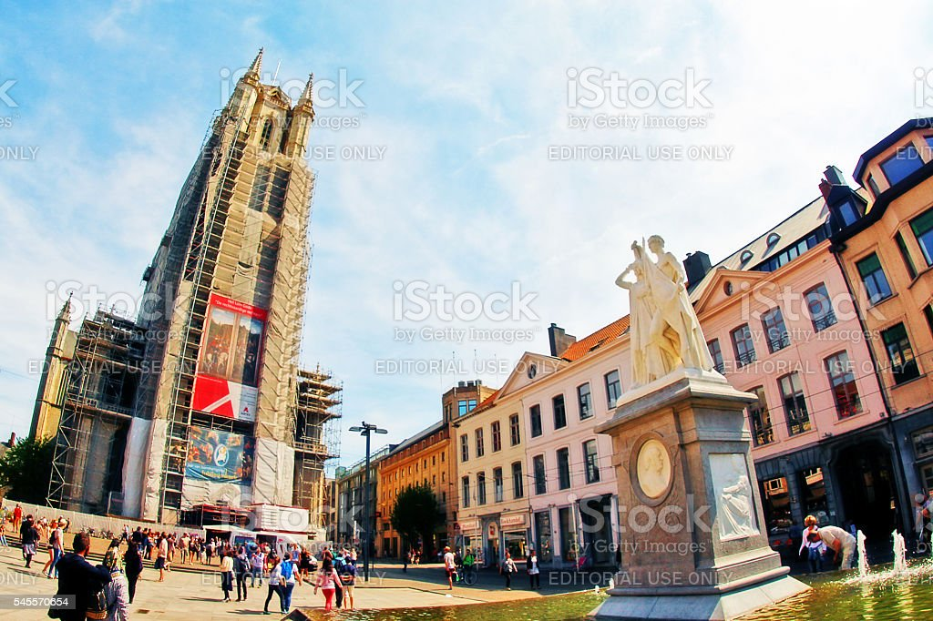 Ghent (Gent), Belgium - May 06, 2016 - Saint Bavo Cathedral stock photo