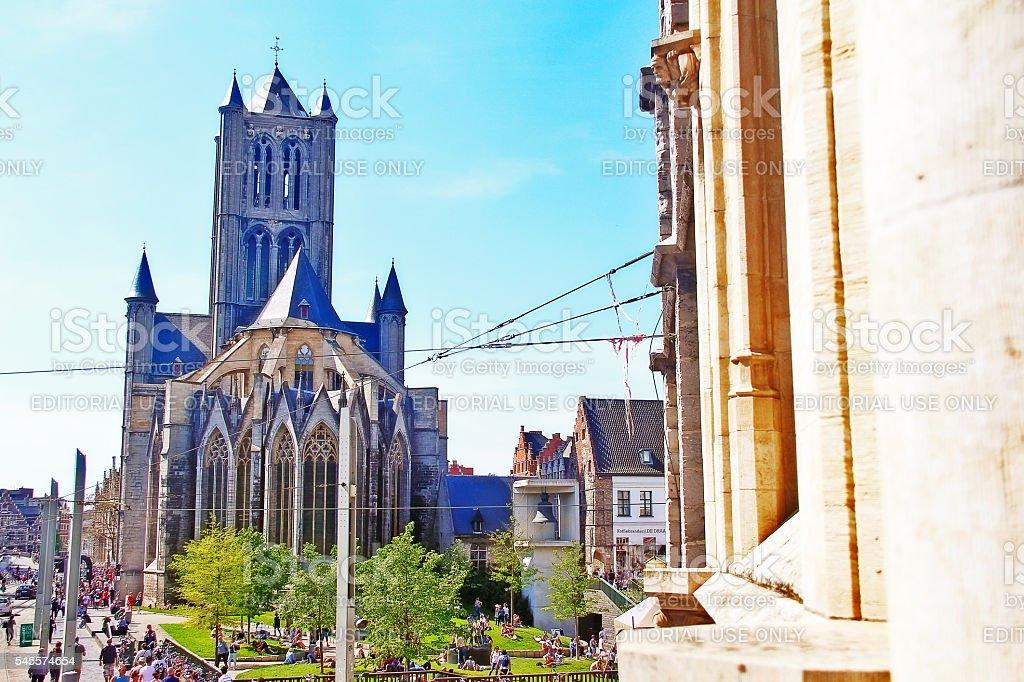 Ghent (Gent), Belgium - May 06, 2016 - Saint Nicholas Church stock photo