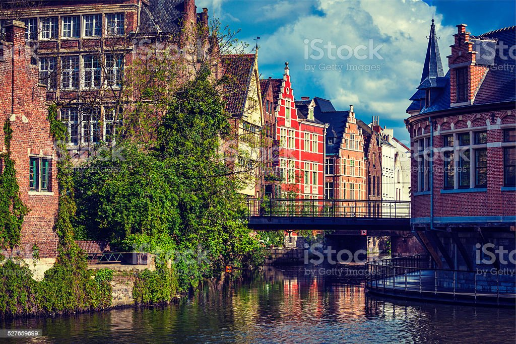 Ghent canal. Gent, Belgium stock photo