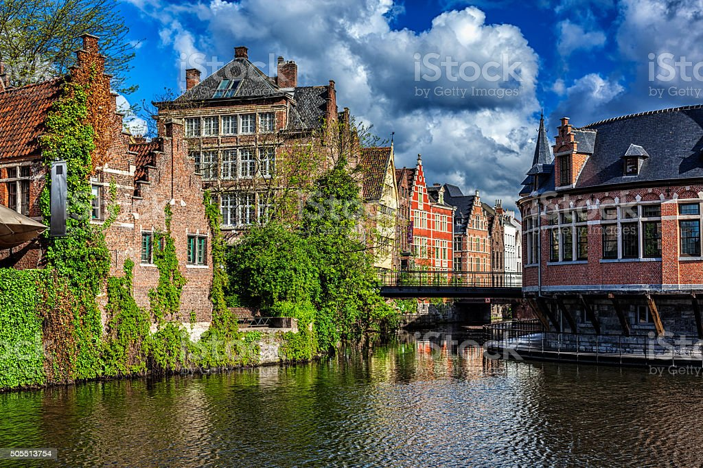 Ghent canal. Ghent, Belgium stock photo