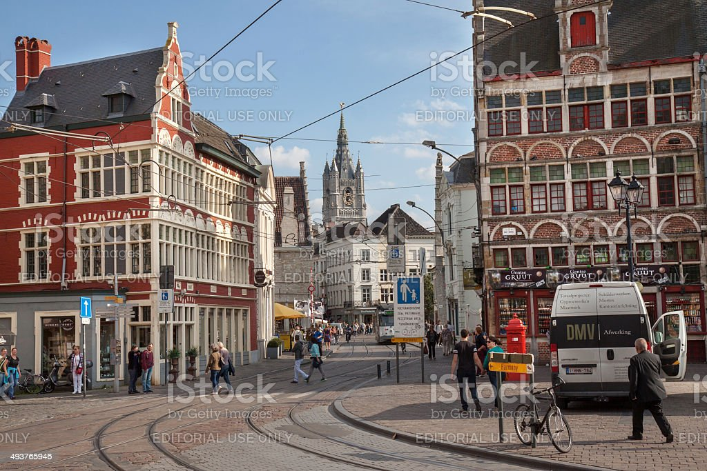 Ghent, city life near the Gravensteen castle stock photo