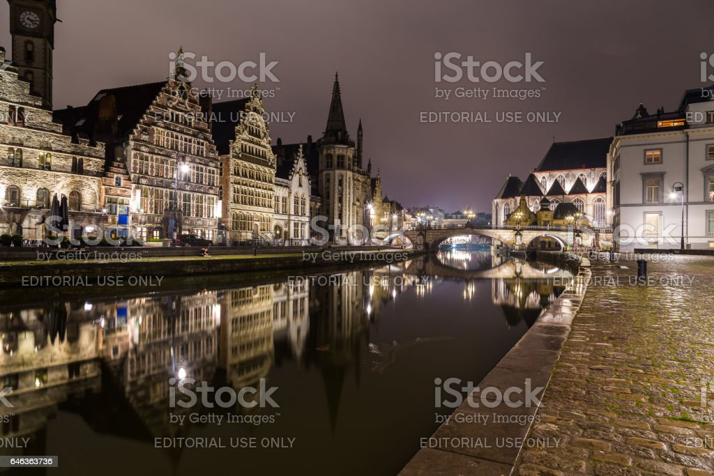 Ghent from the Graslei and Korenlei at night stock photo