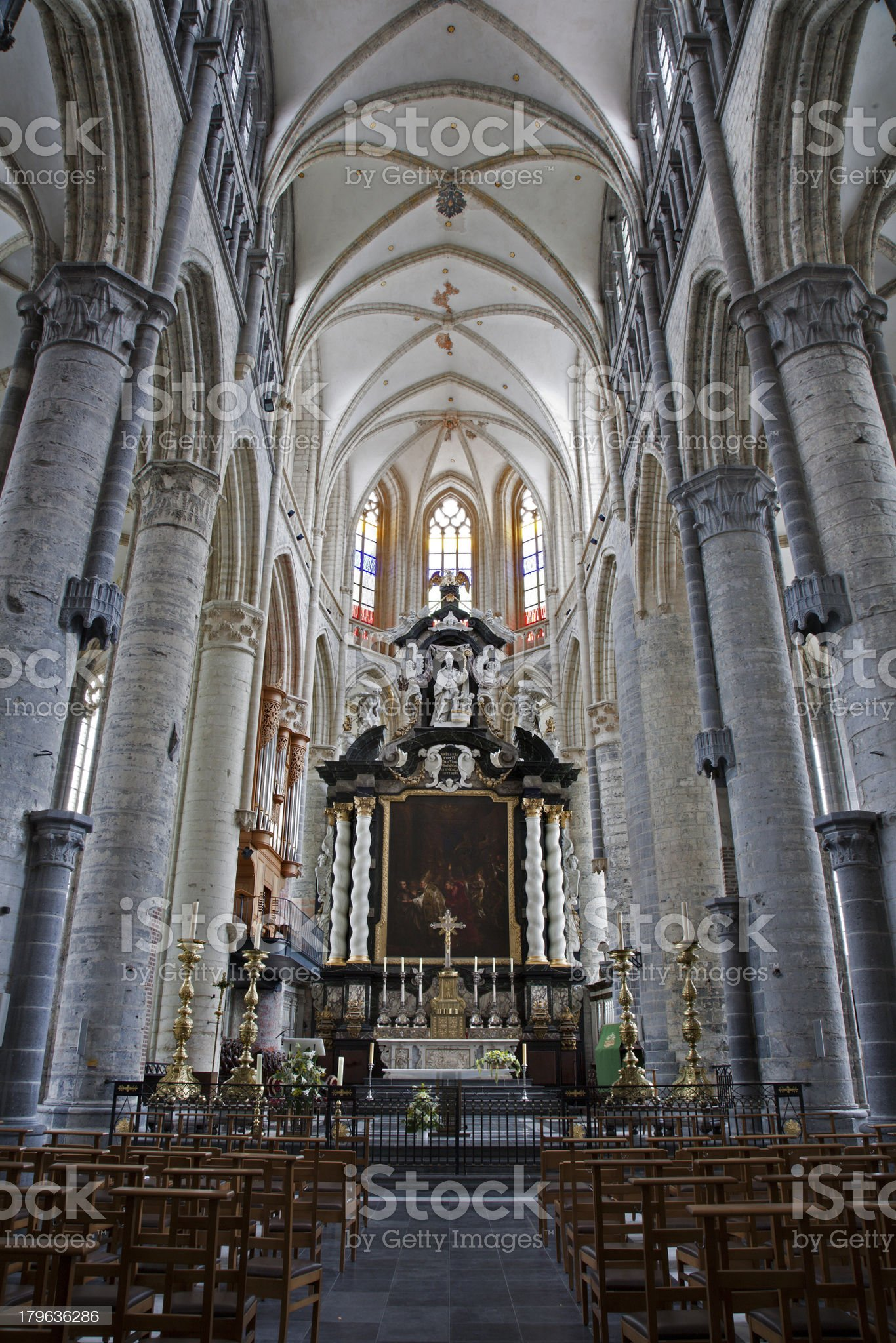 Ghent - Nave of gothic church Saint Nicholas royalty-free stock photo