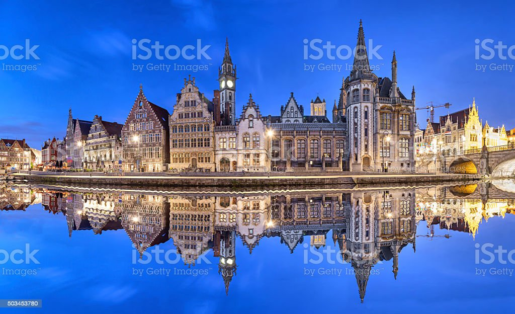 Ghent skyline reflecting in water, Belgium stock photo