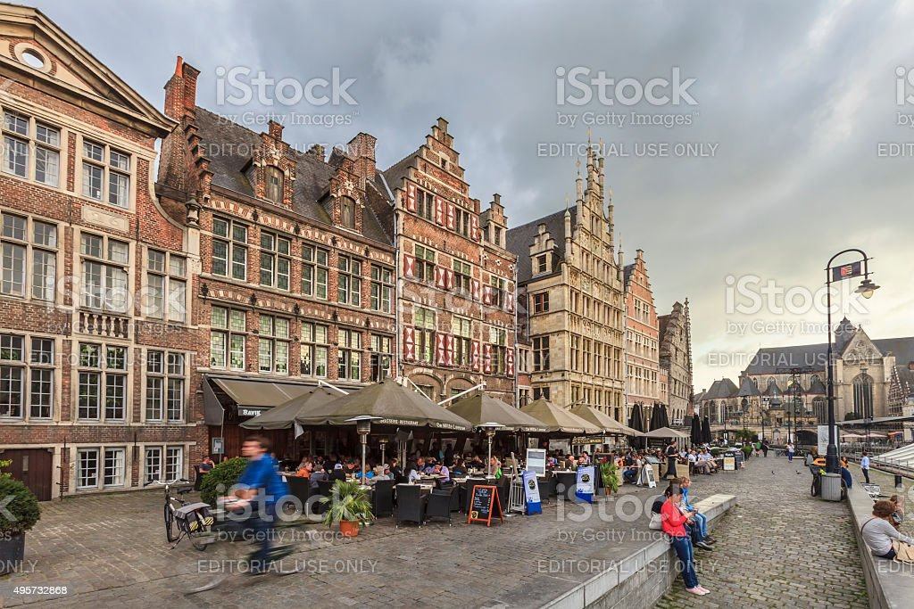 Ghent - The Graslei, Belgium stock photo