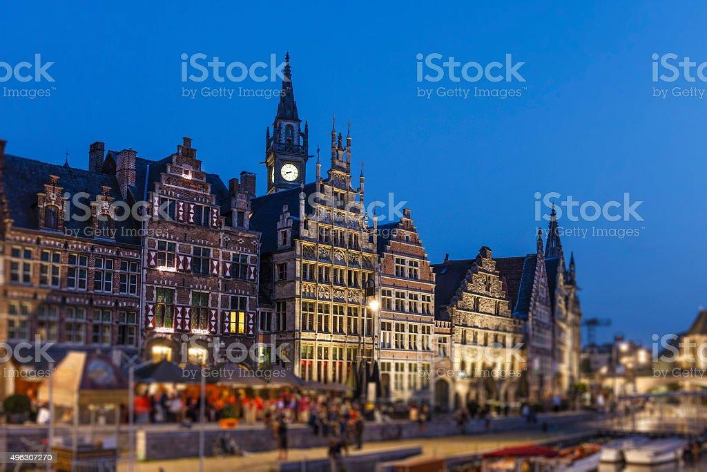 Ghent - The Graslei, Belgium stock photo