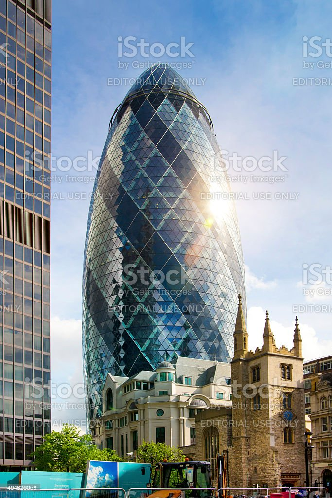 Gherkin building, london stock photo