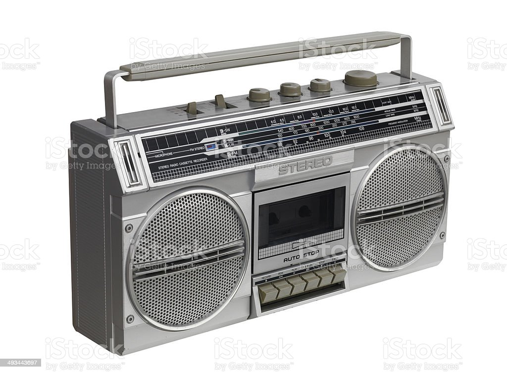 Ghettoblaster looking down and right stock photo