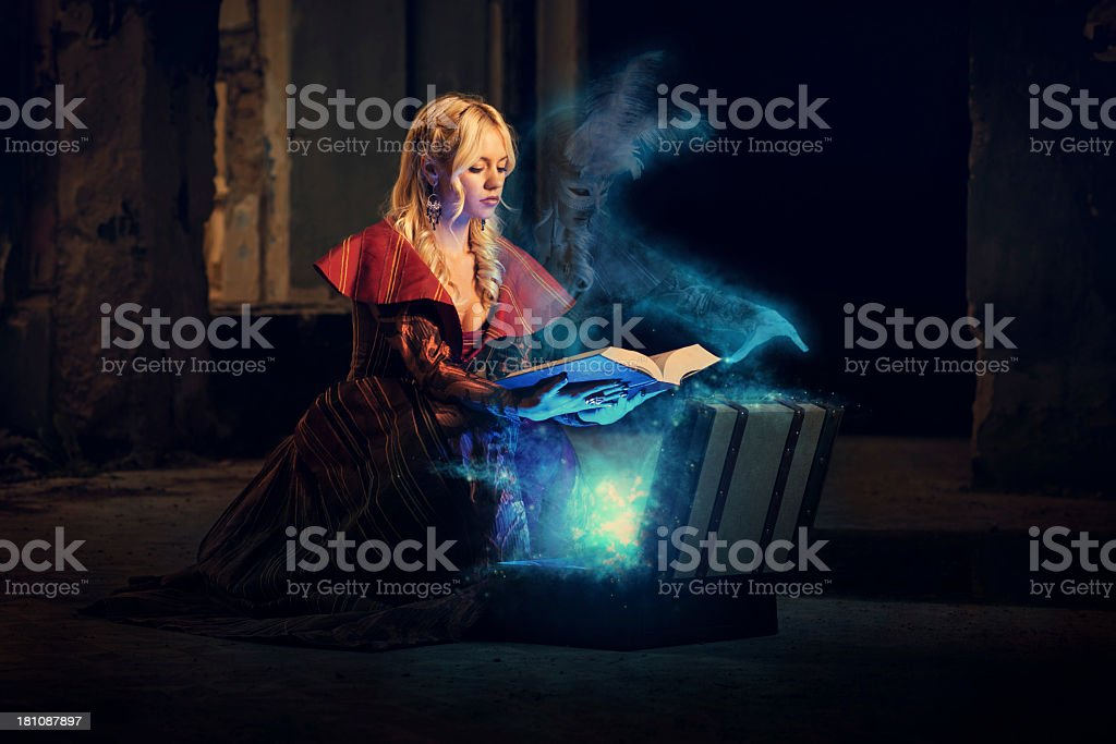 Ghost and mysterious book of magic stock photo