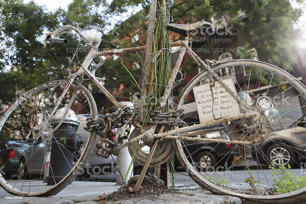Ghost bike memorial Houston Street NYC cycling stock photo