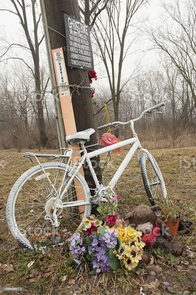 Ghost Bike Memorial stock photo