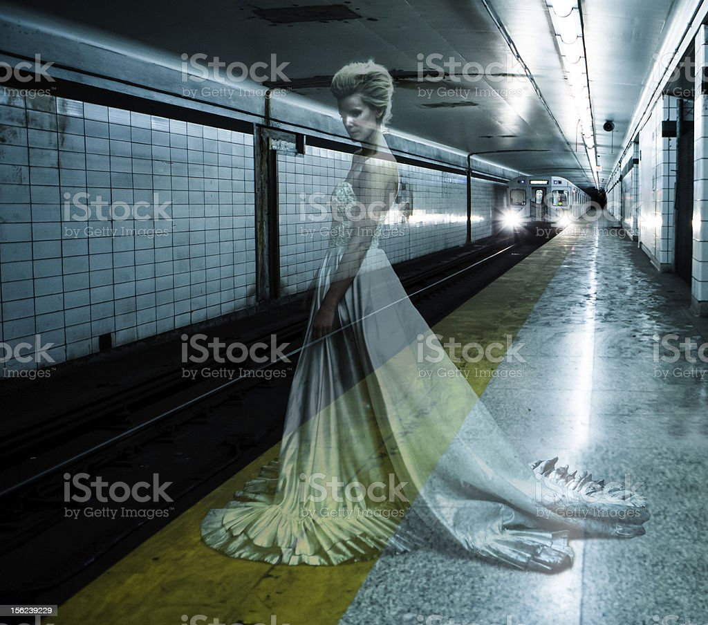 Ghost bride in the Underground stock photo