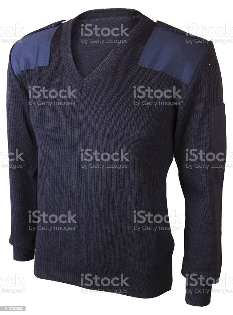 Ghost cloth Navy sweater isolated on white. stock photo