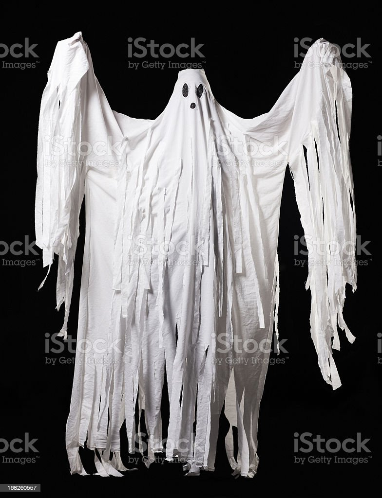 Ghost Halloween Costume, Full Body Portrait on Black stock photo