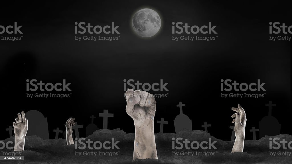 ghost hand from hell on with fullmoon for halloween background stock photo