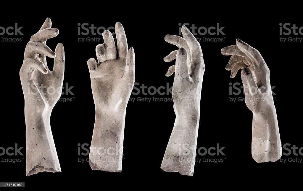 ghost hand on black background stock photo