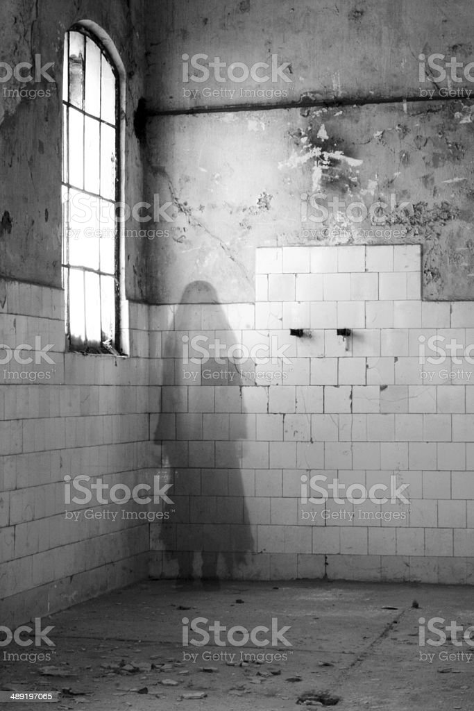 Ghost in old house stock photo