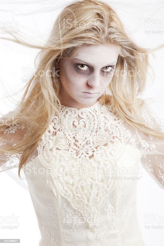 Ghost of a young girl in white dress royalty-free stock photo
