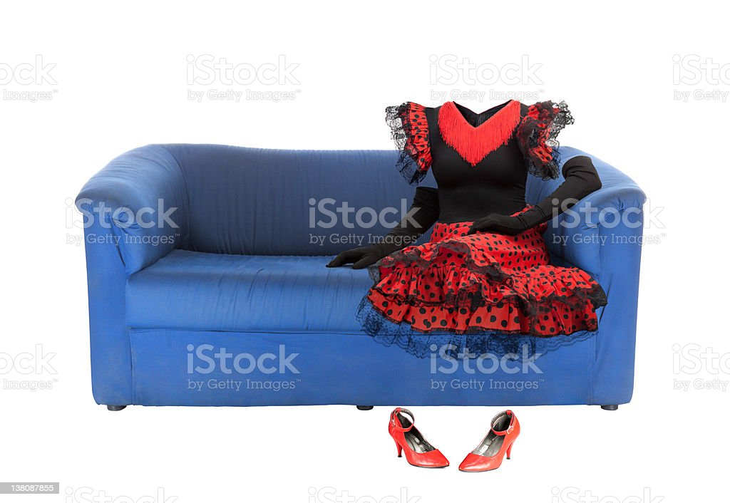 Ghost of the woman on a blue couch | Isolated stock photo