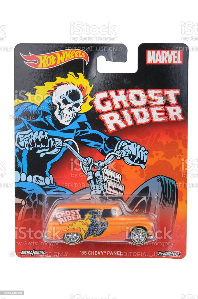 Ghost Rider1955 Chevy Panel Hot Wheels Diecast Toy Car stock photo