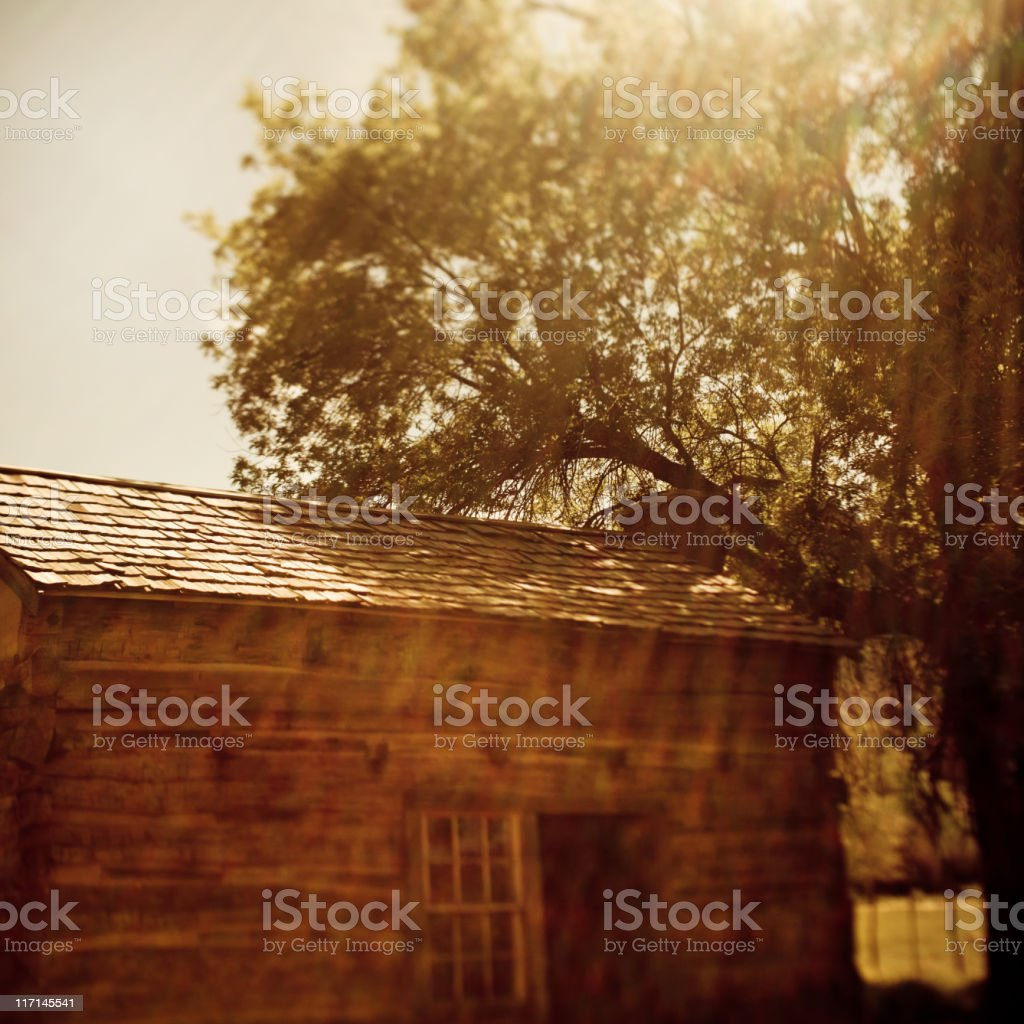 ghost town cabin stock photo