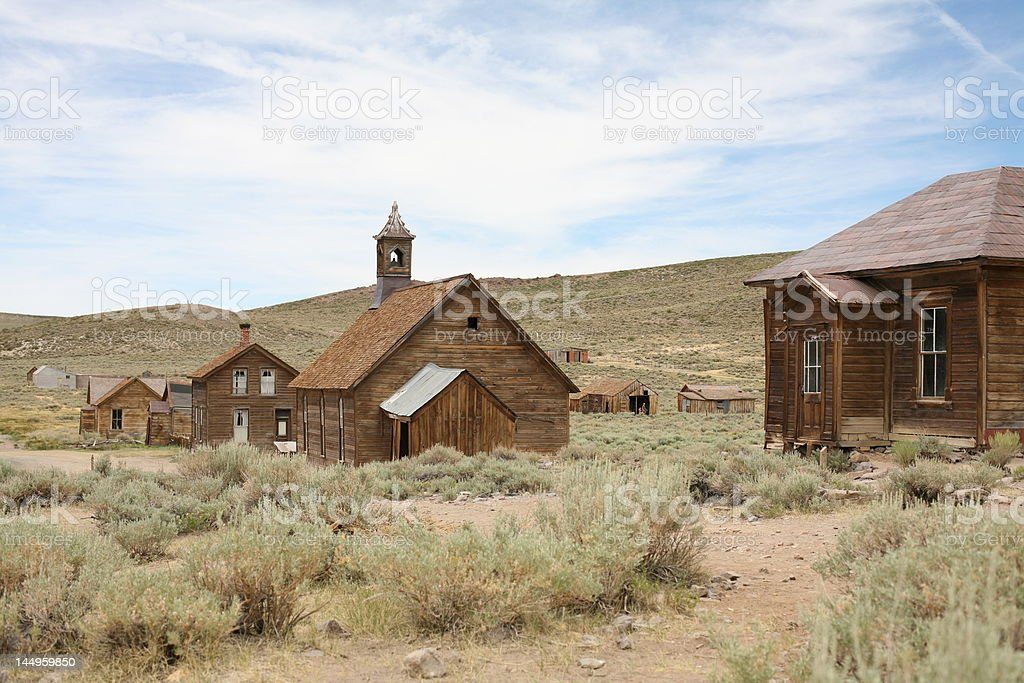 Ghost Town Church Scene, Old West royalty-free stock photo