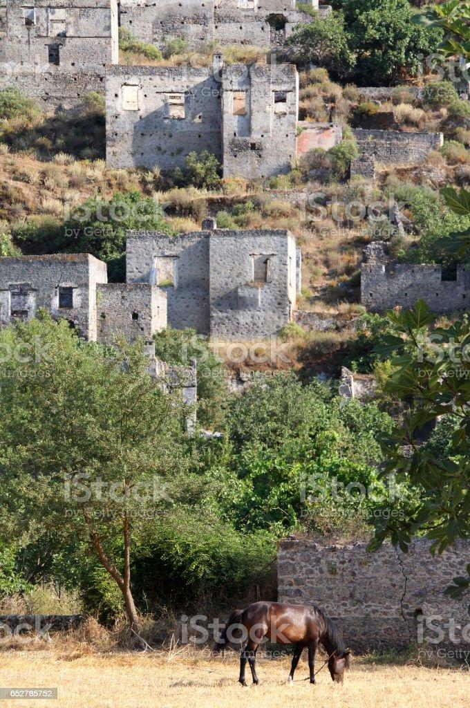 Ghost town of Kayakoy (Turkey) stock photo