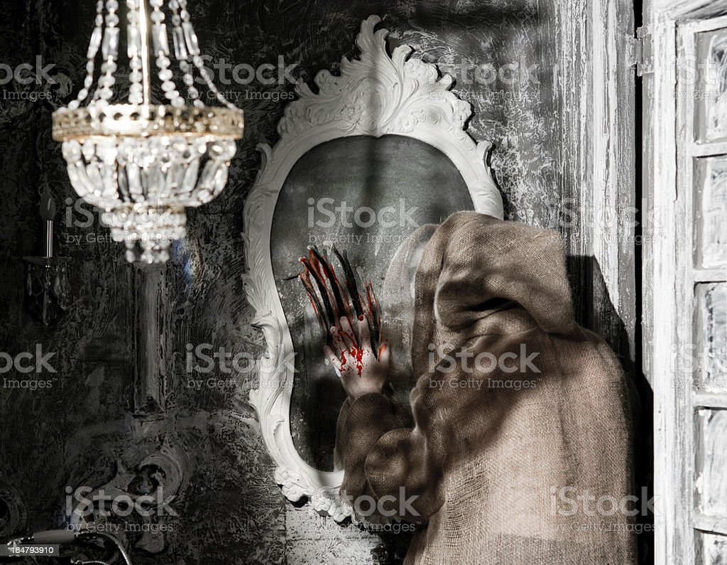 Ghost with a mirror royalty-free stock photo